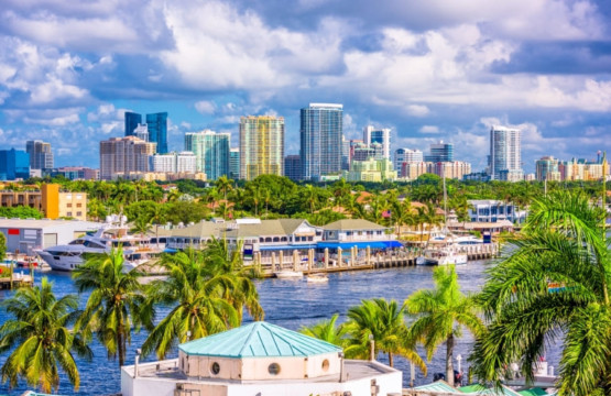 Fort Lauderdale Florida Skyline and Intracoastal Waterway
