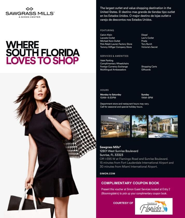 Sawgrass Mills Mall in Miami Fort Lauderdale Florida Voucher Coupon Book for free