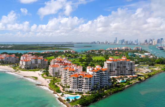View from the airplane on Fisher Island Florida
