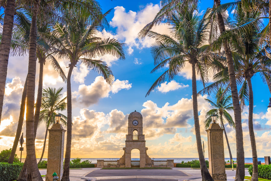 Clock Tower at the Entrance of Worth Avenue in Palm Beach Florida