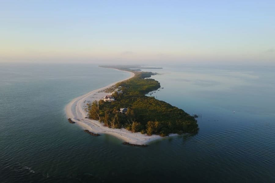 View from the plane on Sanibel Island Beach Florida