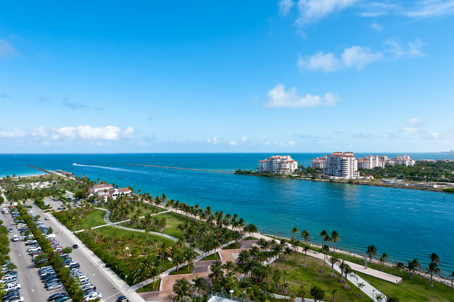 View South Pointe Park Miami to Fisher Island Florida